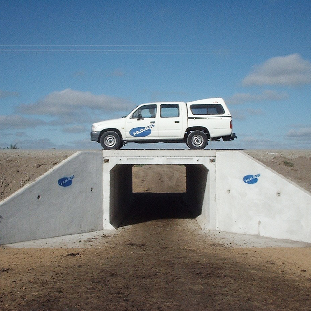 Humes precast Concrete Box Culvert underpass taking a vehicle load